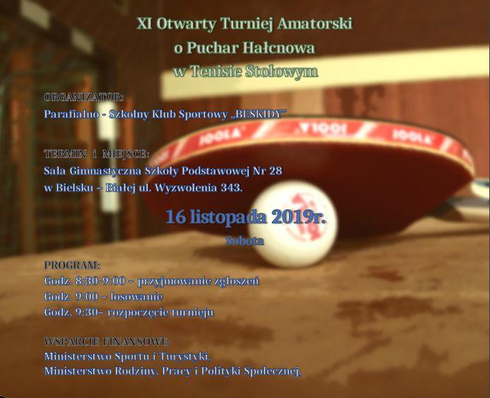 Plakat turnieju XI Otwarty Turniej Amatorski o Puchar Hałcnowa w Tenisie Stołowym