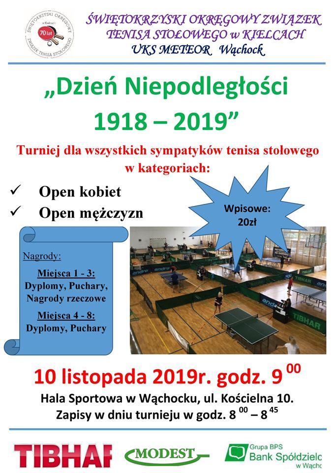 Plakat turnieju Otwarty turniej tenisa stołowego w Wąchocku z okazji Święta Niepodległości