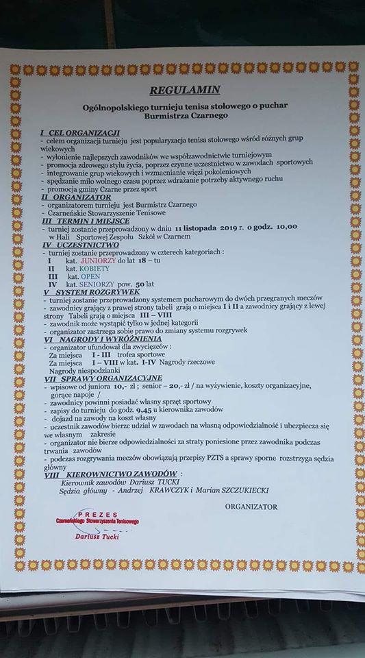 Plakat turnieju Ogólnopolski turniej o Puchar Burmistrza Czarnego