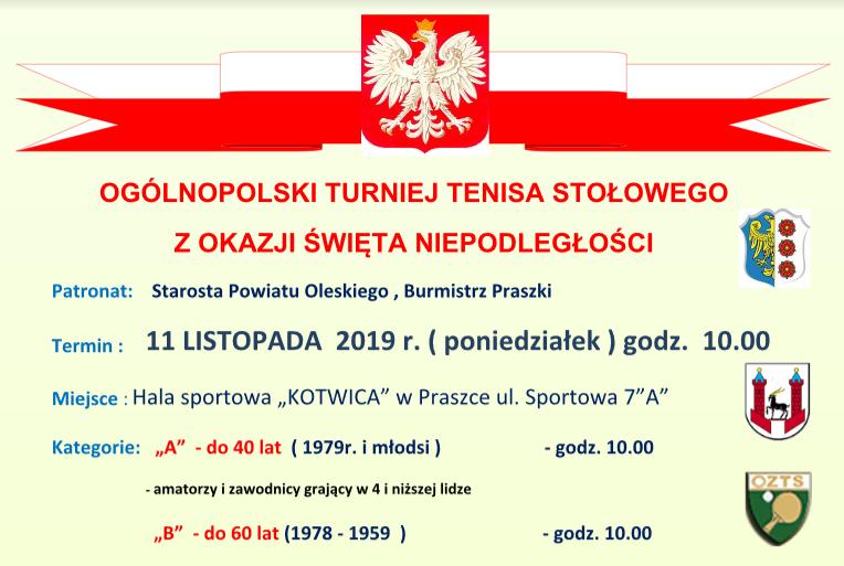 Plakat turnieju OGÓLNOPOLSKI TURNIEJ TENISA STOŁOWEGO Z OKAZJI ŚWIĘTA NIEPODLEGŁOŚCI w Praszce