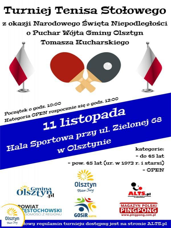 Plakat turnieju z okazji Narodowego Święta Niepodległości o Puchar Wójta Gminy Olsztyn
