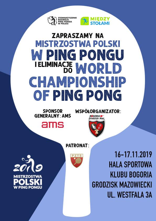Plakat turnieju Mistrzostwa Polski w Ping Pongu - elminiacje do Mistrzostw Świata