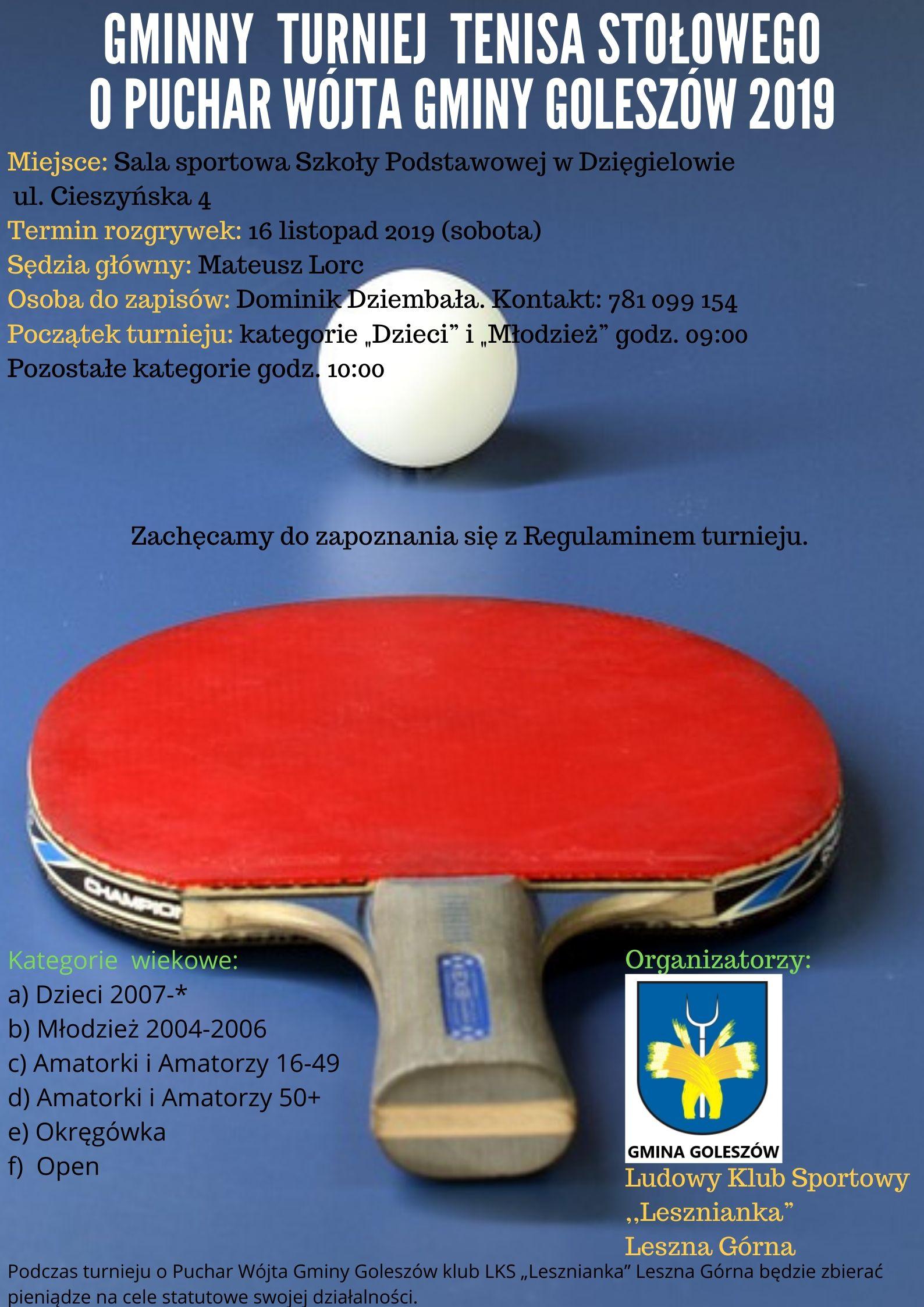 Plakat turnieju Gminny Turniej Tenisa Stołowego o Puchar Wójta Gminy Goleszów 2019