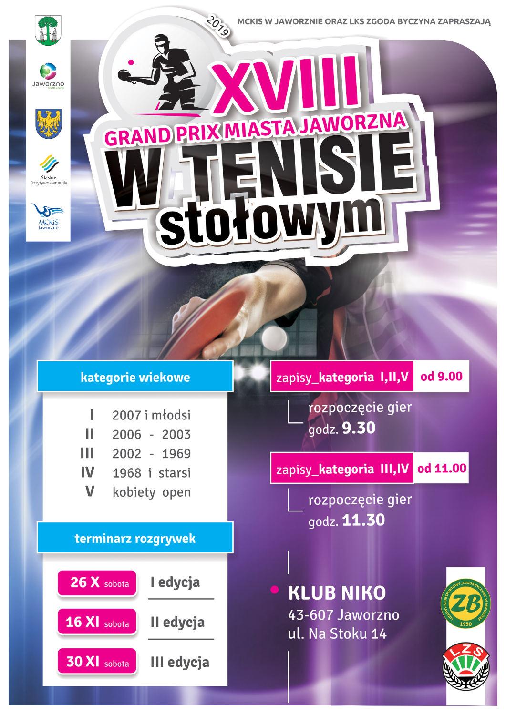 Plakat turnieju XVIII Grand Prix miasta Jaworzna w Tenisie Stołowym- II edycja