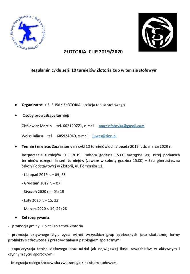 Plakat turnieju ZŁOTORIA CUP 2019/2020- 1 turniej
