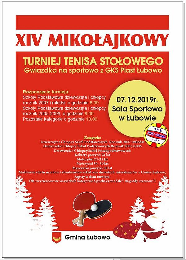 Plakat turnieju Mikołajkowy Turniej Tenisa Stołowego -Gwiazdka na sportowo z GKS PIAST ŁUBOWO