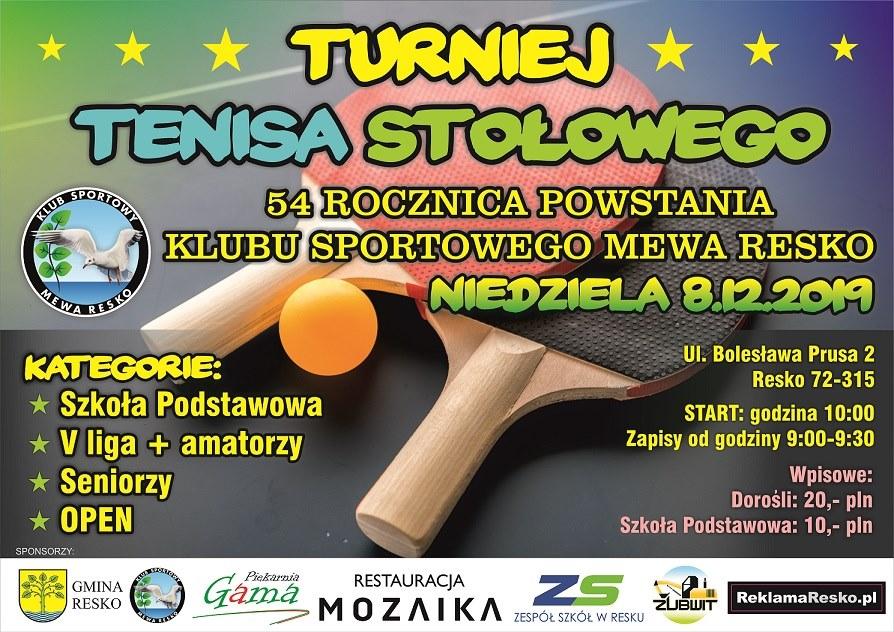 Plakat turnieju Z okazji 54 Rocznicy powstania klubu MEWA RESKO