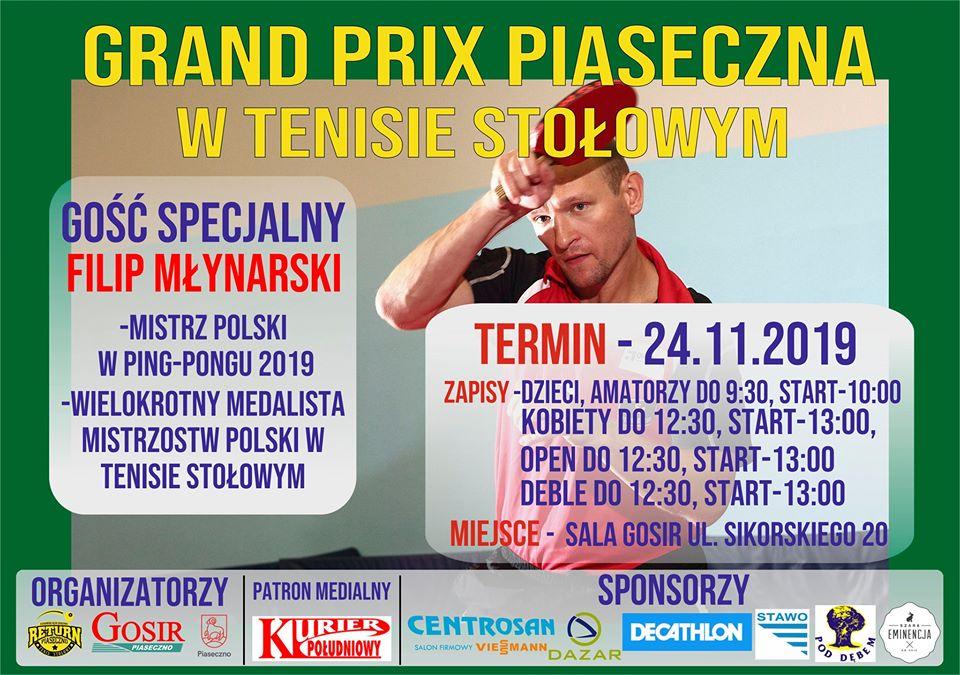 Plakat turnieju Grand Prix Piaseczna w tenisie stołowym 2019 - III Turniej