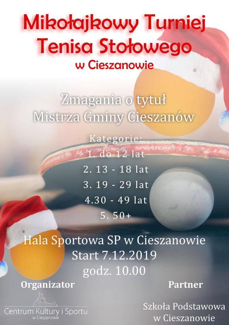 Plakat turnieju Mikołajkowy Turniej Tenisa Stołowego o tytuł Mistrza Gminy Cieszanów
