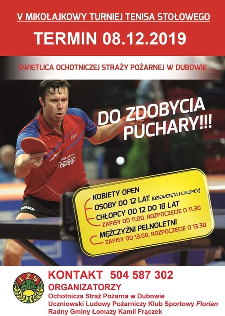 Plakat turnieju V Mikołajkowy Turniej Tenisa Stołowego w Dubowie