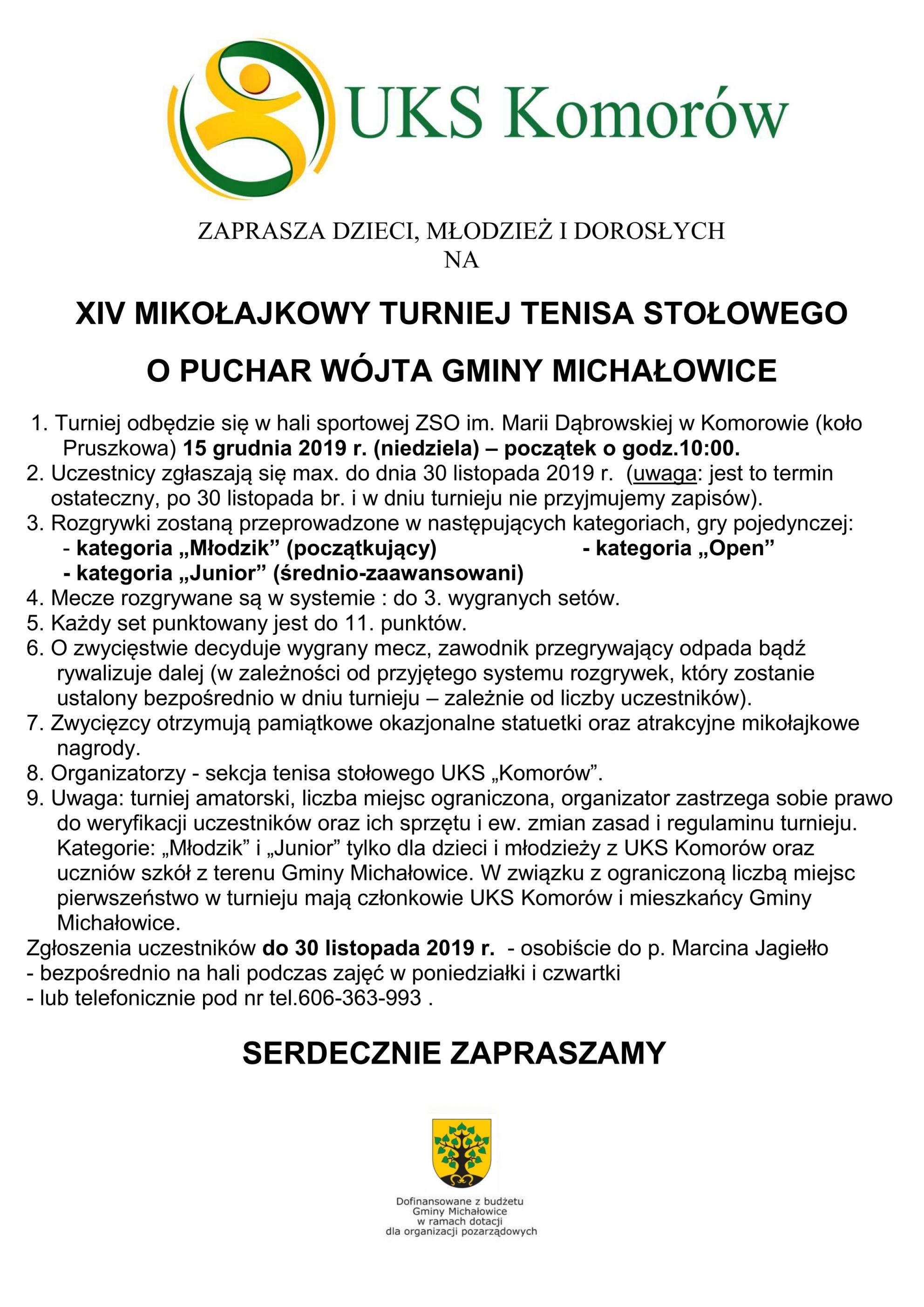 Plakat turnieju XIV MIKOŁAJKOWY TURNIEJ TENISA STOŁOWEGO O PUCHAR WÓJT GMINY MICHAŁOWICE