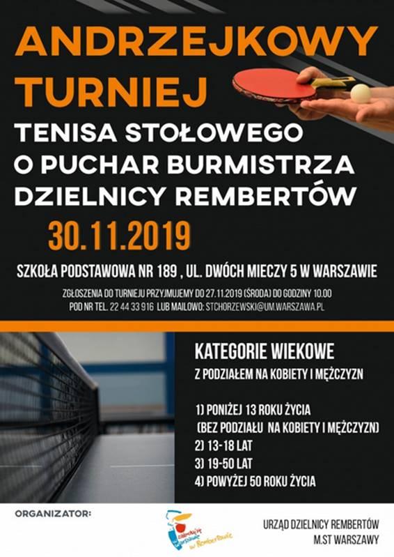 Plakat turnieju Andrzejkowy Turniej Tenisa Stołowego o Puchar Burmistrza Dzielnicy Rembertów