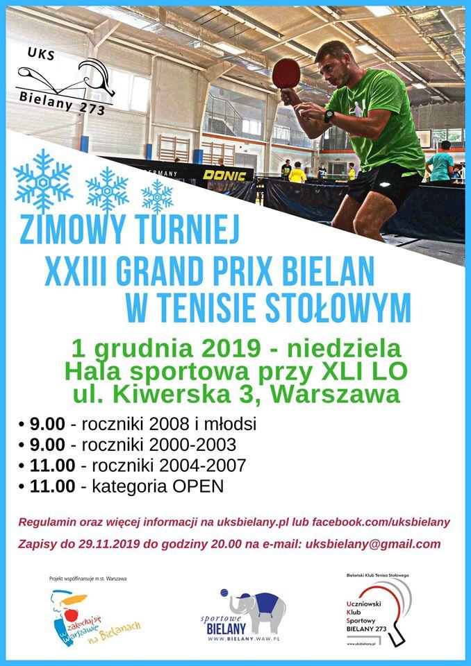 Plakat turnieju Zimowy Turniej z cyklu Grand Prix Bielan