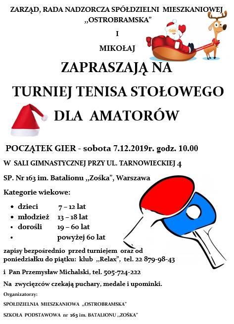 """Plakat turnieju Dla Amatorów- """"Ostrobramska"""" i Mikołaj zapraszają"""