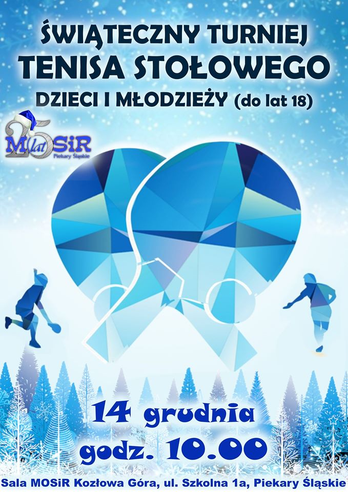 Plakat turnieju Świąteczny Turniej Tenisa Stołowego Dzieci i Młodzieży
