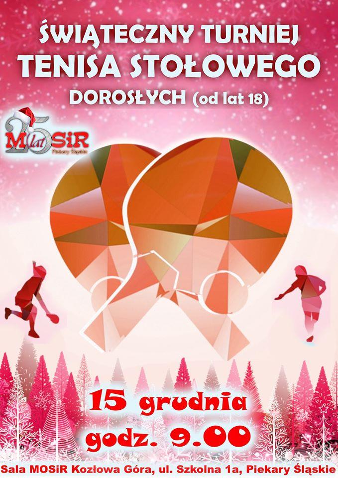 Plakat turnieju Świąteczny Turniej Tenisa Stołowego dla Dorosłych