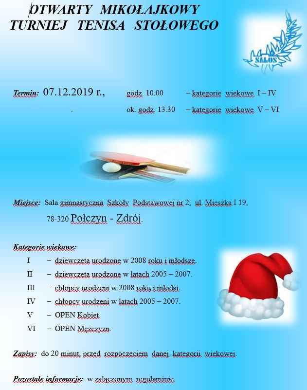 Plakat turnieju Otwarty Mikołajkowy Turniej tenisa Stołowego w Połczynie Zdroju