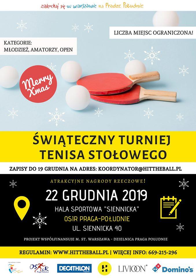 Plakat turnieju Świateczny Turniej Tenisa Stołowego HItTheBall