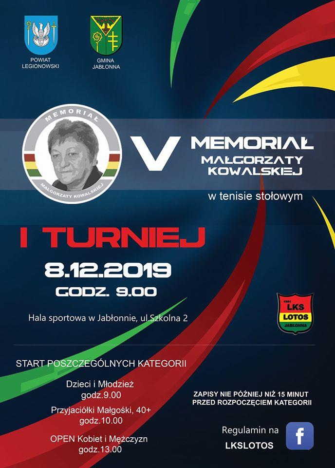 Plakat turnieju V Memoriał Małgorzaty Kowalskiej w tenisie stołowym 2019 - turniej 1 termin