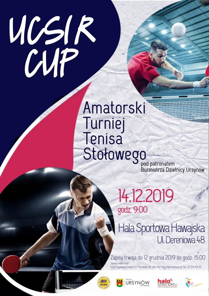 Plakat turnieju UCSiR CUP Amatorski Turniej Tenisa Stołowego