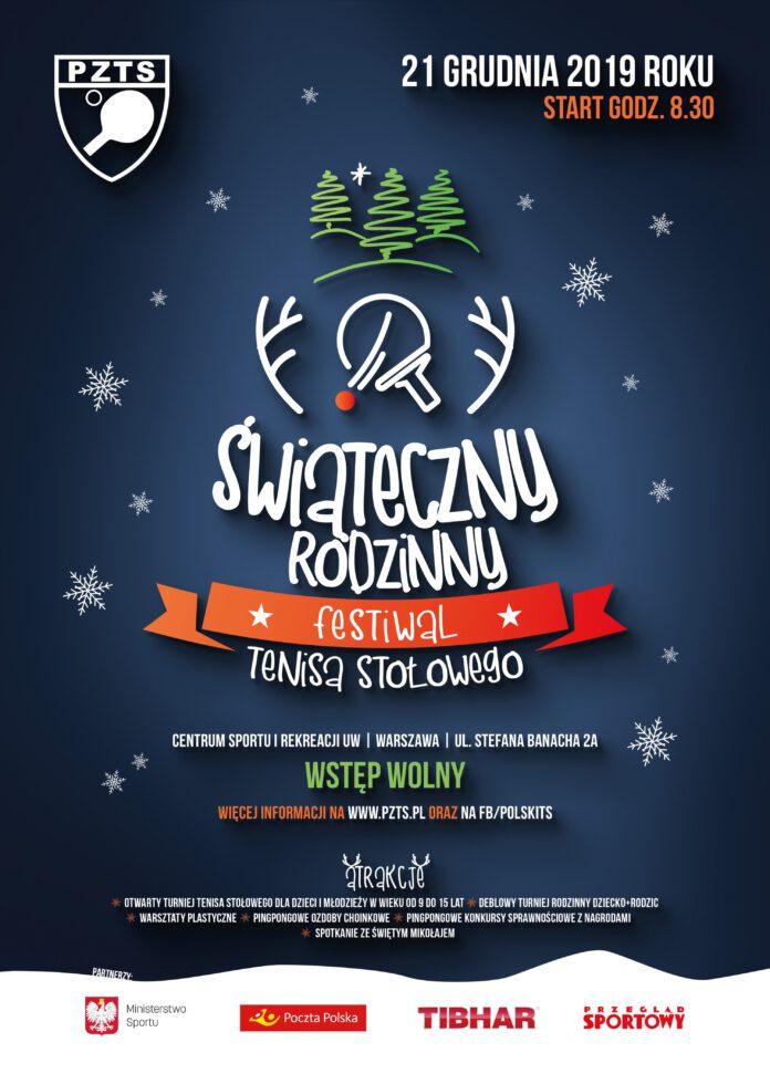 Plakat turnieju Świąteczny Rodzinny Festiwal Tenisa Stołowego