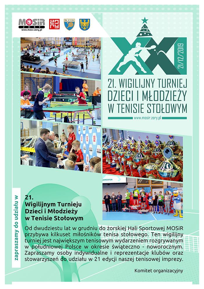 Plakat turnieju 21. Wigilijny Turniej Dzieci i Młodzieży w Tenisie Stołowym