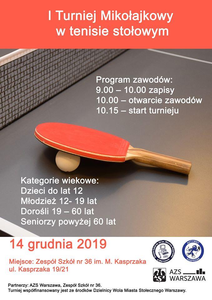 Plakat turnieju I Mikołajkowy Turniej tenisa stołowego
