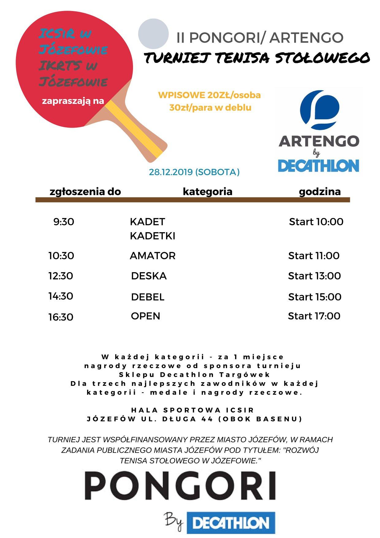 Plakat turnieju II PONGORI / ARTENGO Turniej Tenisa Stołowego