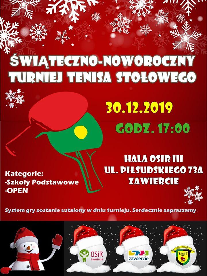 Plakat turnieju Świąteczno-Noworoczny Turniej Tenisa Stołowego- Zawiercie