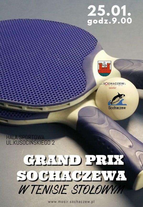 Plakat turnieju V Grand Prix Sochaczewa w Tenisie Stołowym 2019/2020