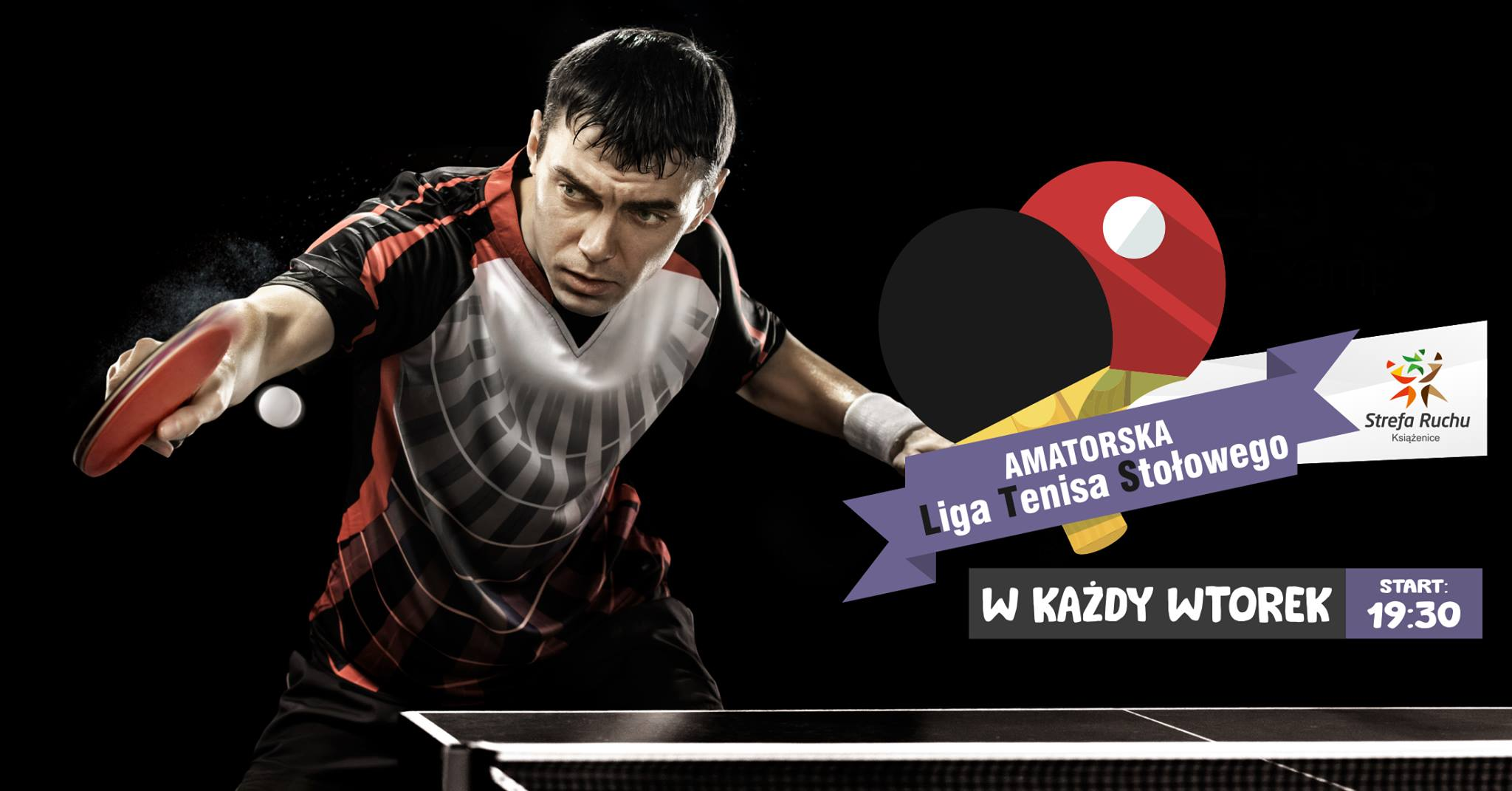 Plakat turnieju Liga Tenisa Stołowego w Książenicach