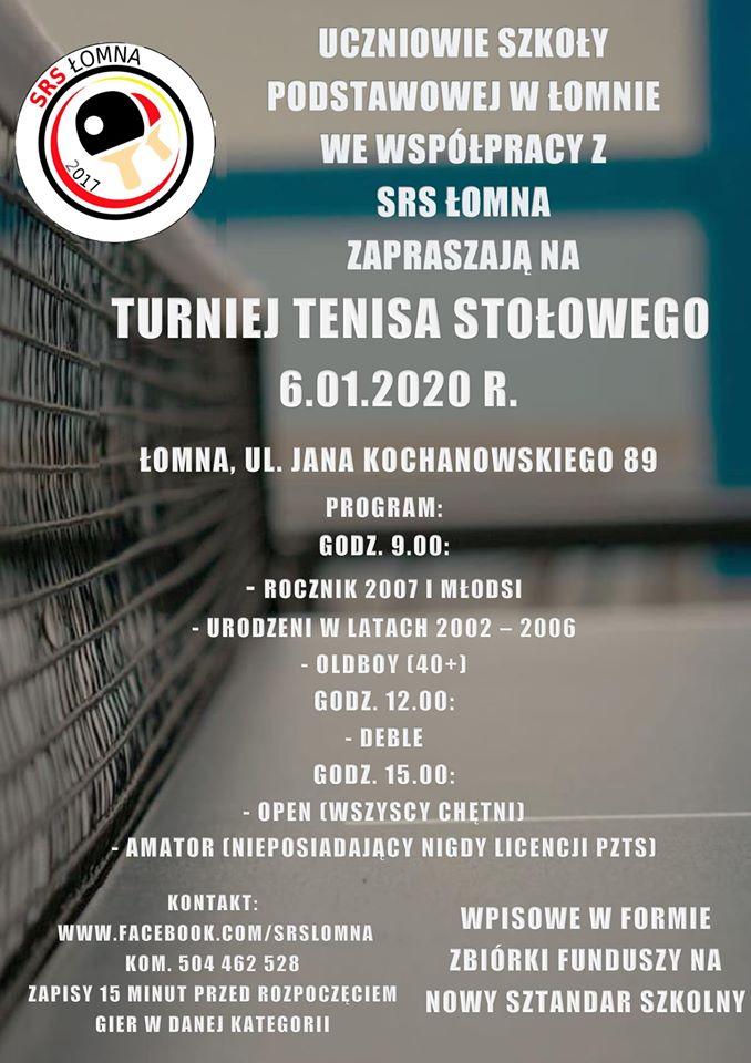 Plakat turnieju Turniej Tenisa Stołowego - 6.01.2020 w Łomnie