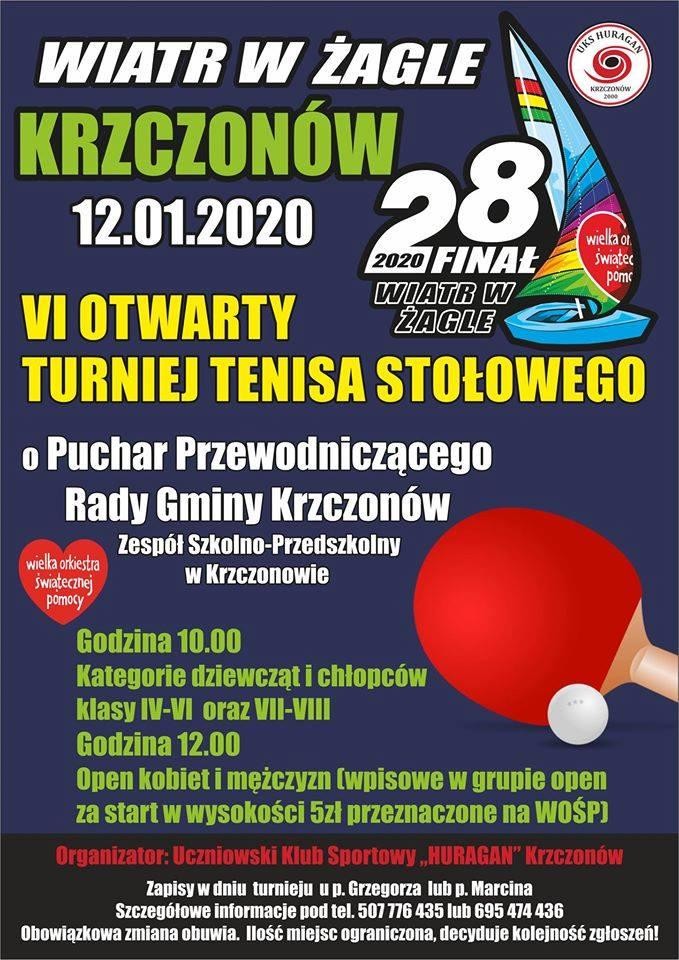 Plakat turnieju VI Otwarty Turniej Tenisa Stołowego o Puchar Przewodniczącego RG