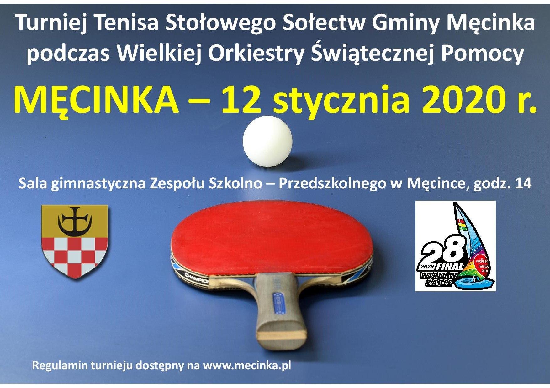 Plakat turnieju TURNIEJ TENISA STOŁOWEGO SOŁECTW GMINY MĘCINKA podczas WOŚP