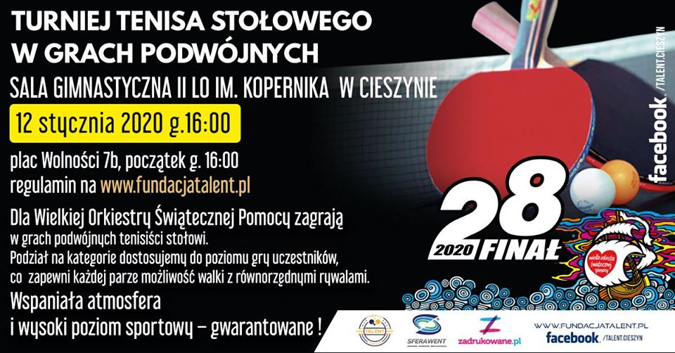 Plakat turnieju Turniej Tenisa Stołowego w Grach Podwójnych