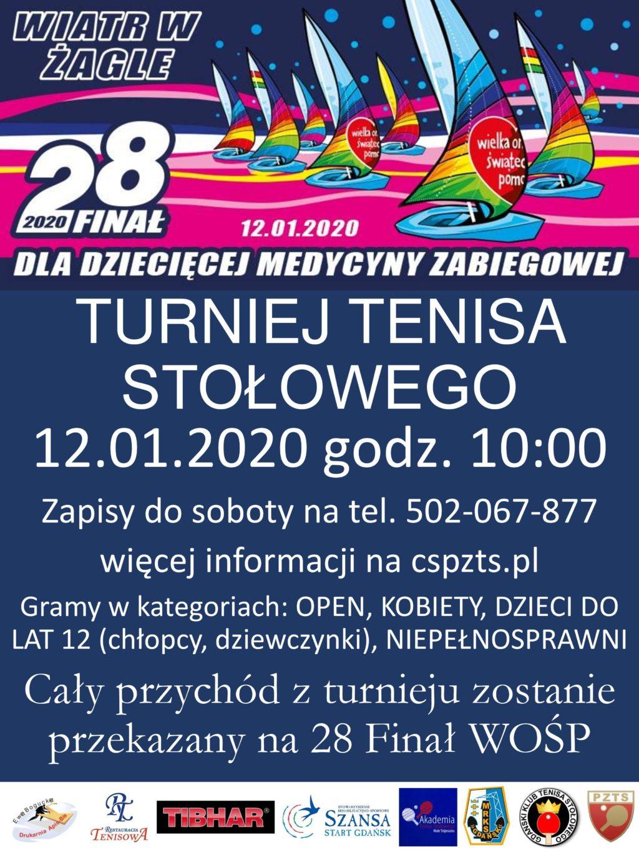 Plakat turnieju Turniej tenisa stołowego dla WOŚP- Gdańsk