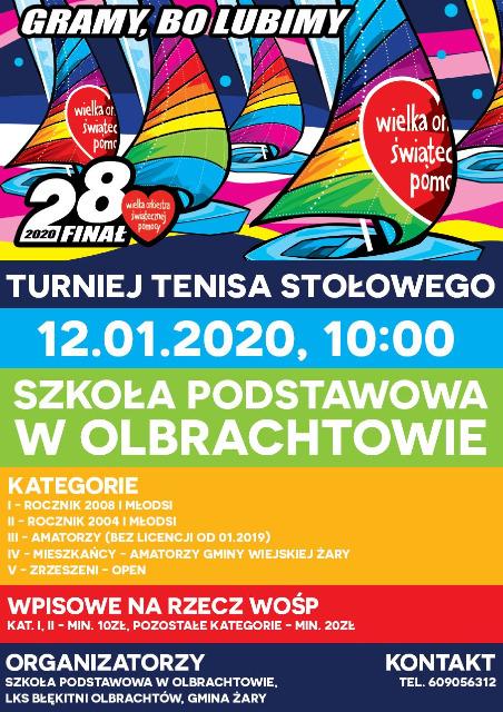Plakat turnieju GRAMY BO LUBIMY – TURNIEJ TENISA STOŁOWEGO na rzecz 28 Finału WOŚP