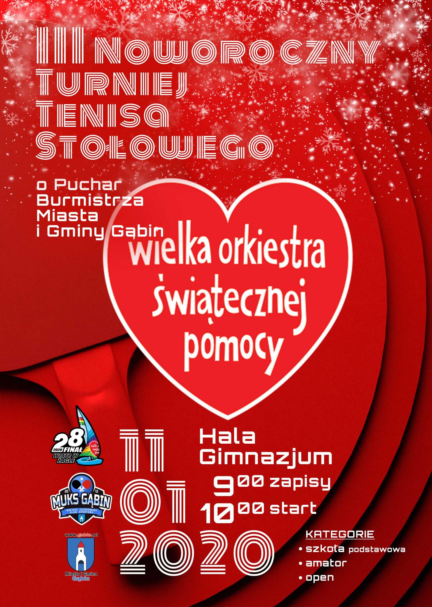 Plakat turnieju III Noworoczny Turniej Tenisa Stołowego o Puchar Burmistrza Miasta i Gminy Gąbin