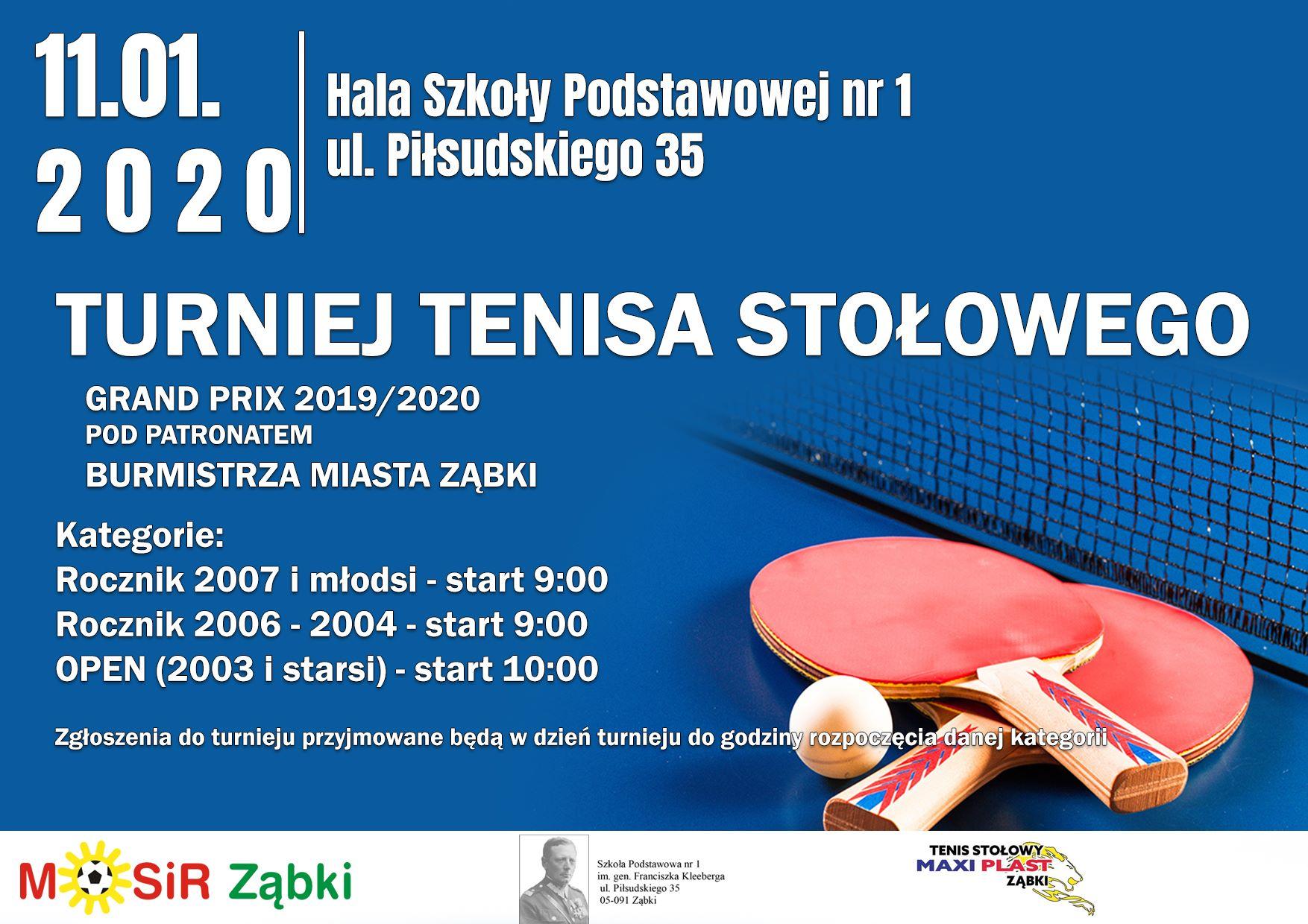 Plakat turnieju IV Grand Prix 2019/2020 w tenisie stołowym pod patronatem Burmistrza Miasta Ząbki