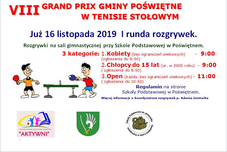 Plakat turnieju VIII Grand Prix Poświętne w tenisie stołowym 2019/2020- VI runda