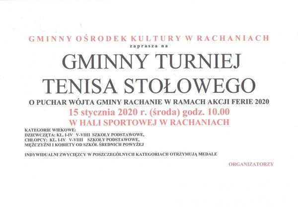 Plakat turnieju Gminny Turniej Tenisa Stołowego w Rachaniach- akcja ferie 2020