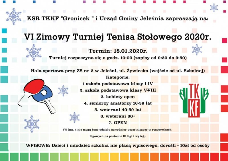 Plakat turnieju VI Zimowy Turniej Tenisa Stołowego 2020- Jeleśnia