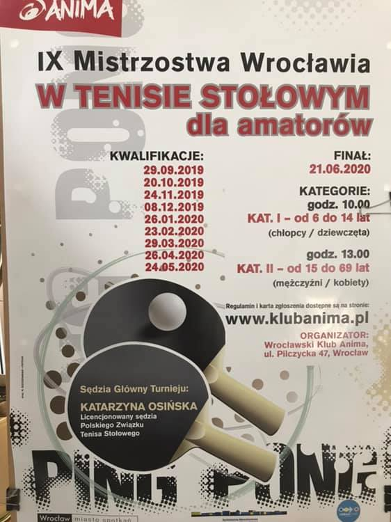 Plakat turnieju IX Mistrzostwa Wrocławia w Tenisie Stołowym dla amatorów- Kwalifikacje- 1 turniej