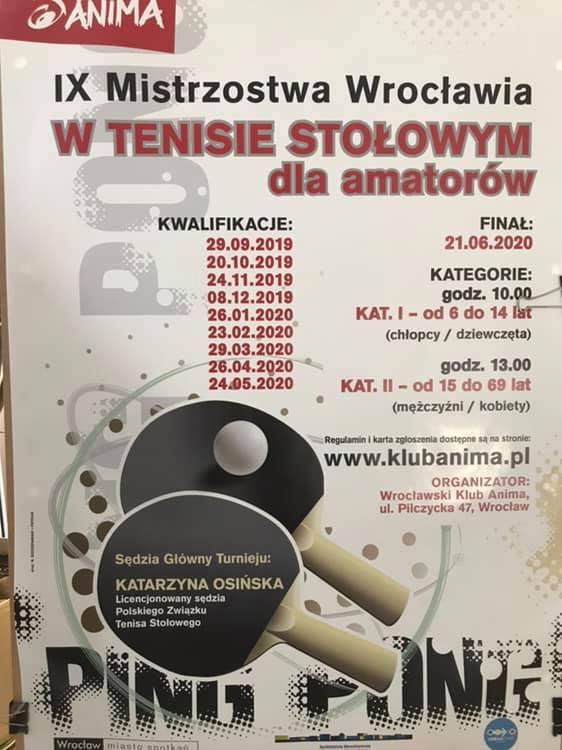 Plakat turnieju IX Mistrzostwa Wrocławia w Tenisie Stołowym dla amatorów- Kwalifikacje- 6 turniej