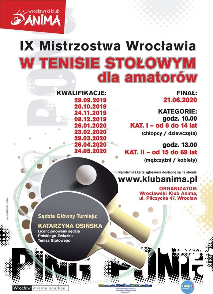 Plakat turnieju IX Mistrzostwa Wrocławia w Tenisie Stołowym dla amatorów- Kwalifikacje- 7 turniej