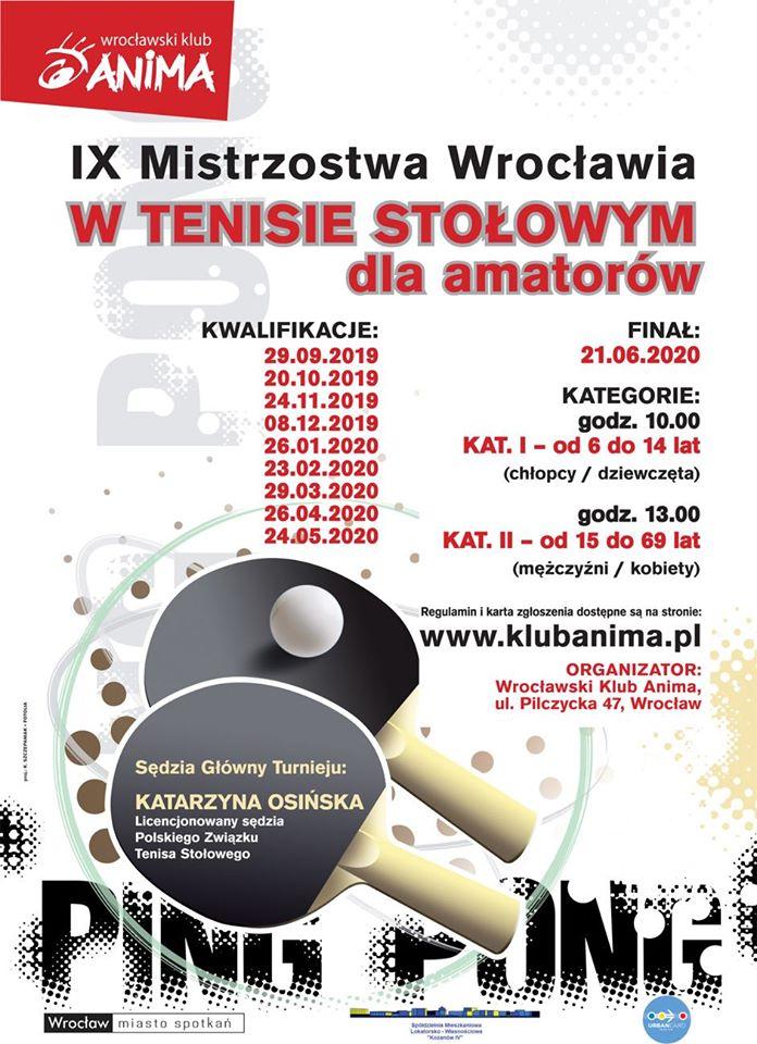 Plakat turnieju IX Mistrzostwa Wrocławia w Tenisie Stołowym dla amatorów- Kwalifikacje- 9 turniej