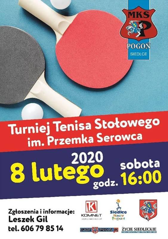 Plakat turnieju Turniej Tenisa Stołowego im. Przemka Serowca
