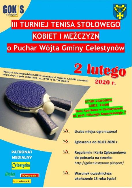 Plakat turnieju III Turniej Tenisa Stołowego Kobiet i Mężczyzn o Puchar Wójta Gminy Celestynów