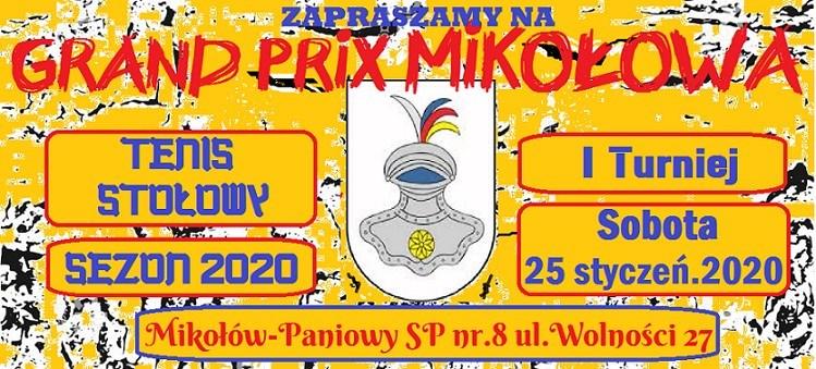 Plakat turnieju XVI edycja Grand Prix Mikołowa w tenisie stołowym- I turniej