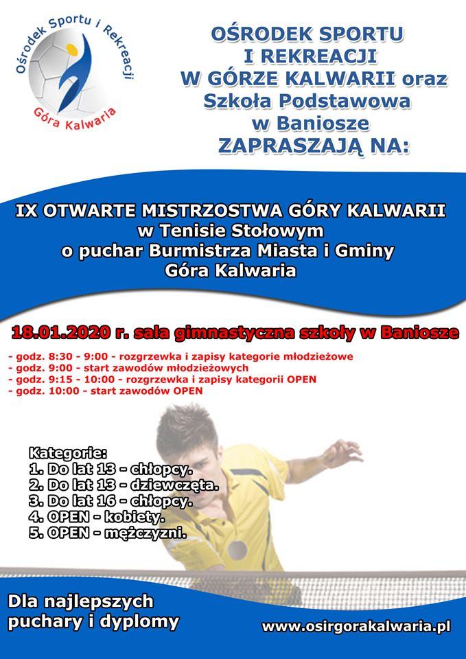 Plakat turnieju IX OTWARTE MISTRZOSTWA GÓRY KALWARII w Tenisie Stołowym o puchar Burmistrza Miasta i Gminy Góra Kalwaria